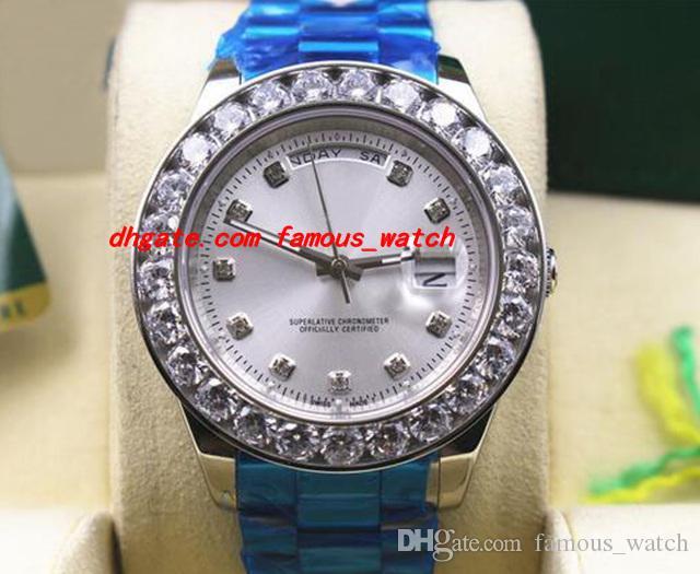 럭셔리 손목 시계 스테인레스 스틸 팔찌 W / 화이트 골드 더 큰 다이아몬드 다이얼 세라믹 베젤 41MM 자동 기계식 무브먼트 남자 시계