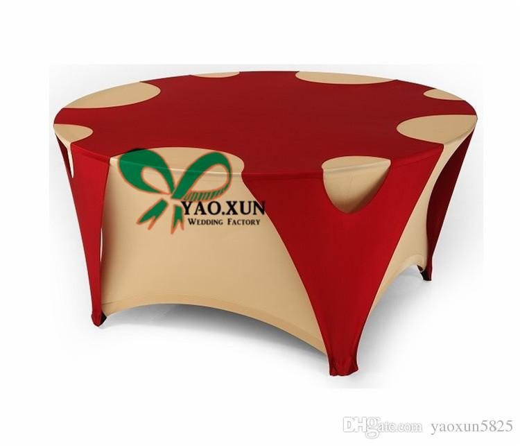 Oro e di colore rosso rotonda Lycra Table Cover \ Tovaglia per la decorazione di nozze