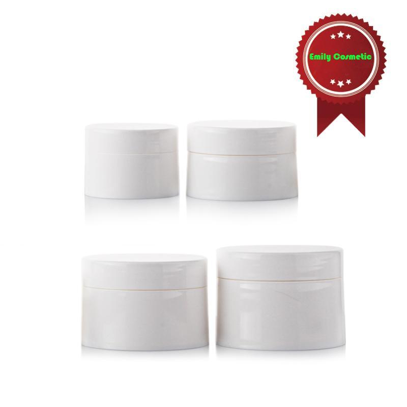 20 adet / grup 30g PP Plastik Parlak Beyaz Krem Maske Kavanoz Boş Kozmetik Ambalaj Kapları Toptan PJ1