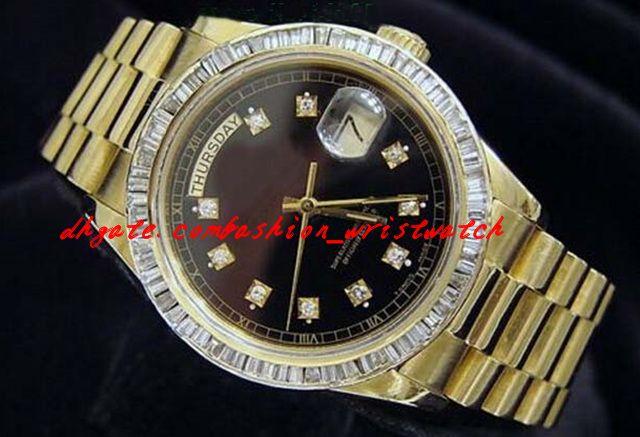 Orologio di lusso di alta qualità orologio da polso in oro giallo 18k Orologio da polso con diamante nero 18038 Orologio da uomo con movimento meccanico automatico