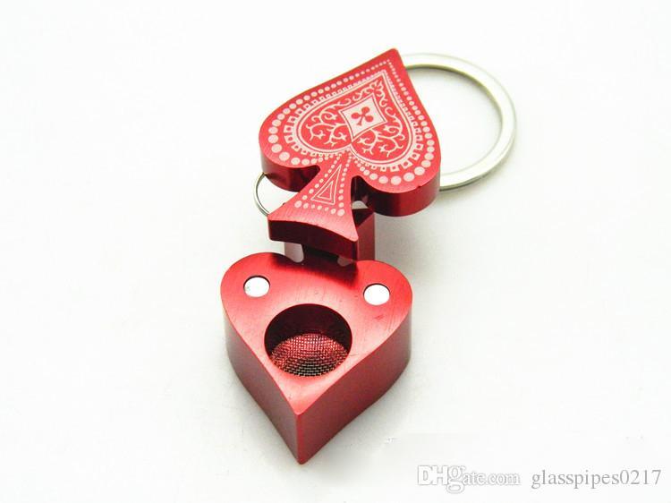 in vendita Poker Peach Heart Pattern Shape Pipa per fumatori Lega di alluminio creativa per fumatori Tubi per tabacco Tubi tabacco per tabacco