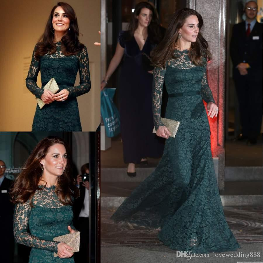 Kate Middleton Full Lace Women Evening Dresses Fitted Long Sleeves Sheer Bateau Neck Floor Length Hunter Green Formal Celebrity Gowns