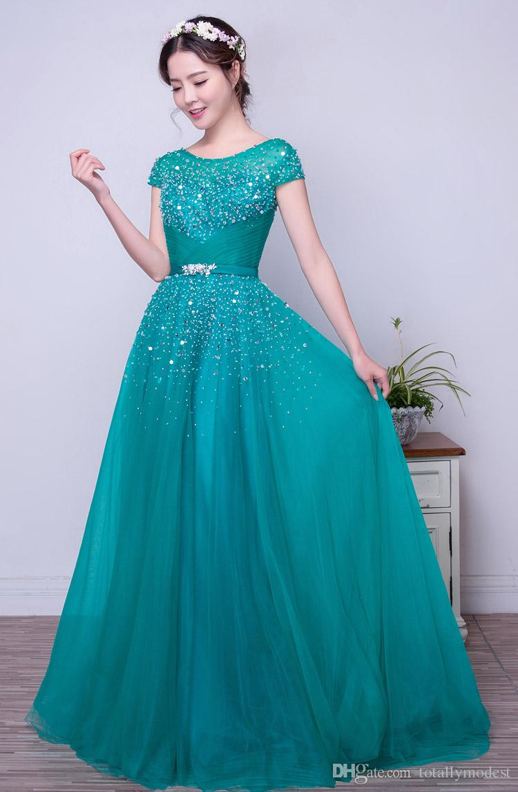 Turquoise Tulle A-line Long Modest Prom Dresses With Short Sleeves Beaded Crystals Elegant Formal Women Party Dresses Real Custom Made