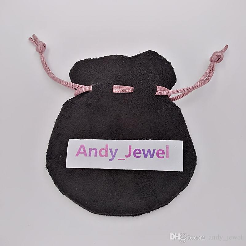 Cinta rosa Bolsas de terciopelo negro Fit Pandora estilo europeo encantos y pulseras Collares Joyas Moda Colgante Bolsas