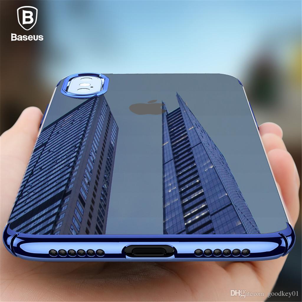 لفون X Baseus فاخر تصفيح حالة كوكه رقيقة جدا بجد PC الغطاء الخلفي حالة لون شفاف ل iPhoneX جل كوكه
