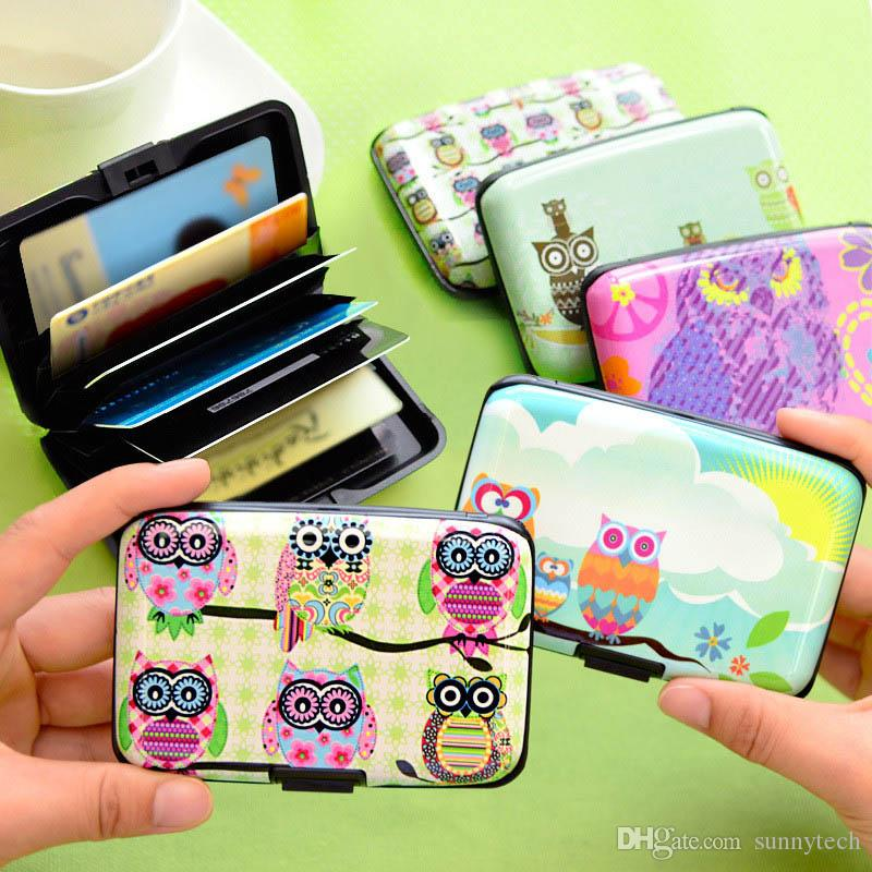 2017 Cute Owl Gedruckt Brieftasche Fall Kreditkarteninhaber 7 Karten Slots Diebstahl Beweis Mit Extra Sicherheit Schichten LZ0509