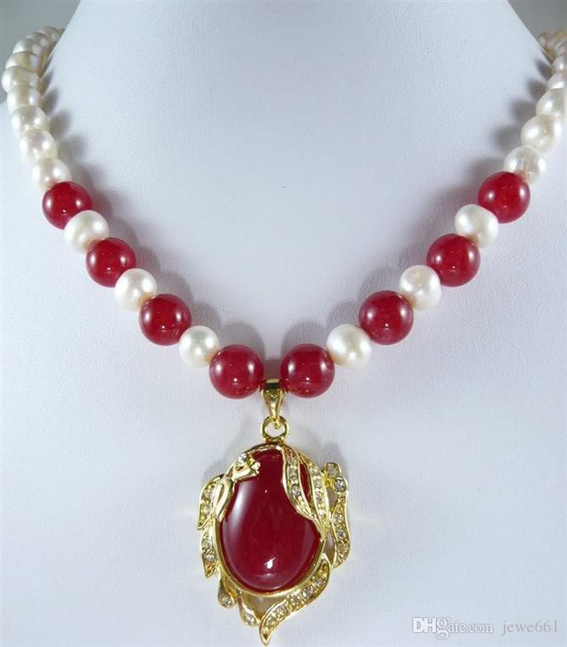 Fashion 7-8mm Natural White Akoya Cultured Pearl & Ruby Pendant Necklace