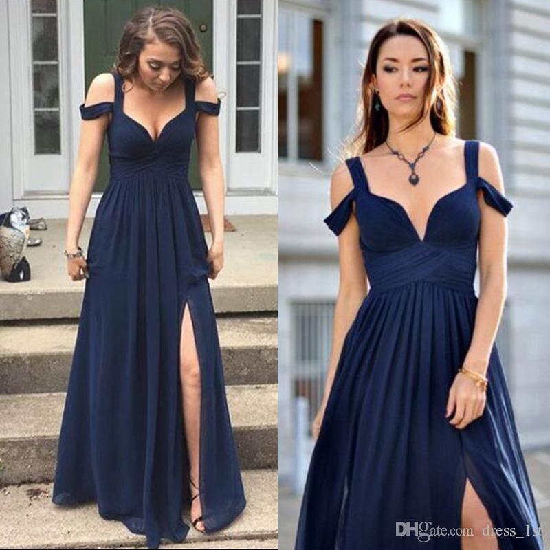 2017 темно-синий шифон сад страна невесты Платья длинные бретельках с плеча сторона Сплит свадебное платье En9142