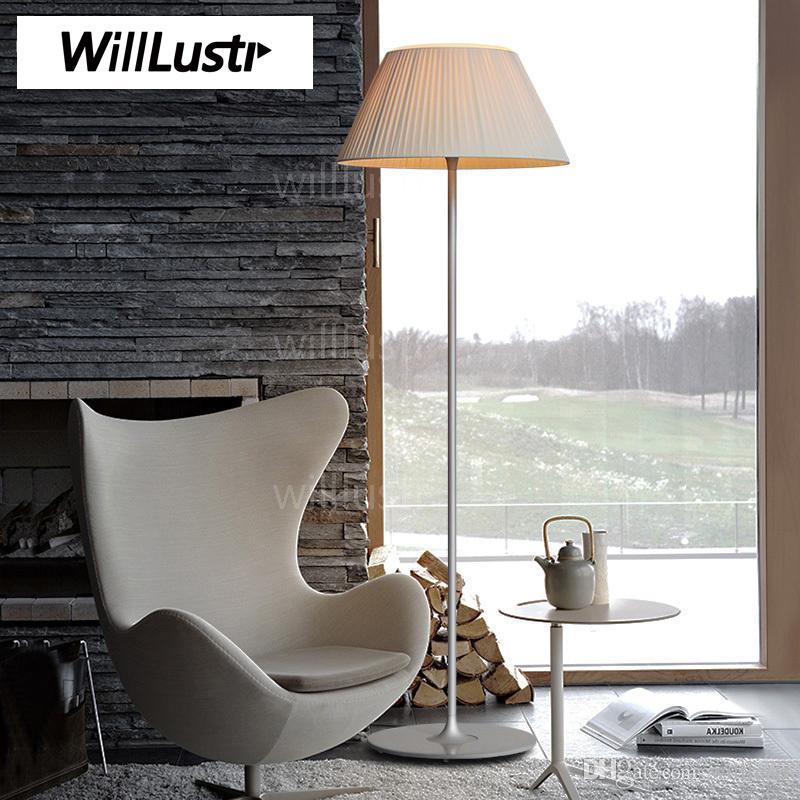 Willlustr Romantic Floor Lamp ribbed glass fabric shade modern Lighting Classic design sitting Bedroom Study Room sofa side light bedside