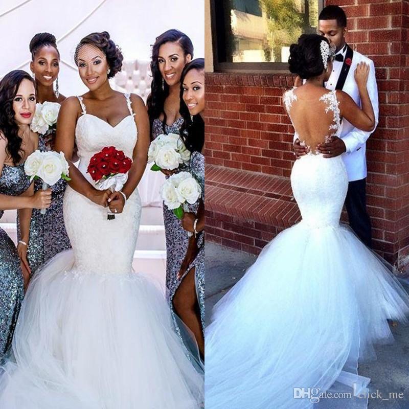 Vestidos de novia de la sirena africana con correas de espaguetis apliques de encaje largo playa vestido de novia tul longitud de tul longitud de longitud de longitud
