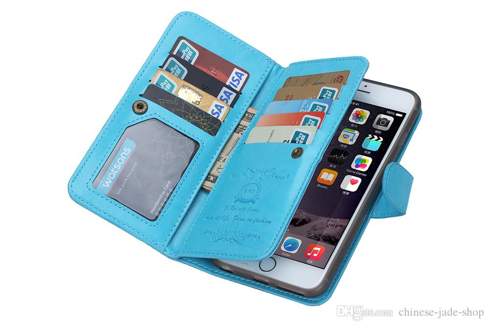 Custodia in pelle portafogli in carta magnetica staccabile 2in1 per iPhone 6 plus iphone 7 plus Galaxy s7 edge s6 edge plus note 4 note 5 60pcs / lot