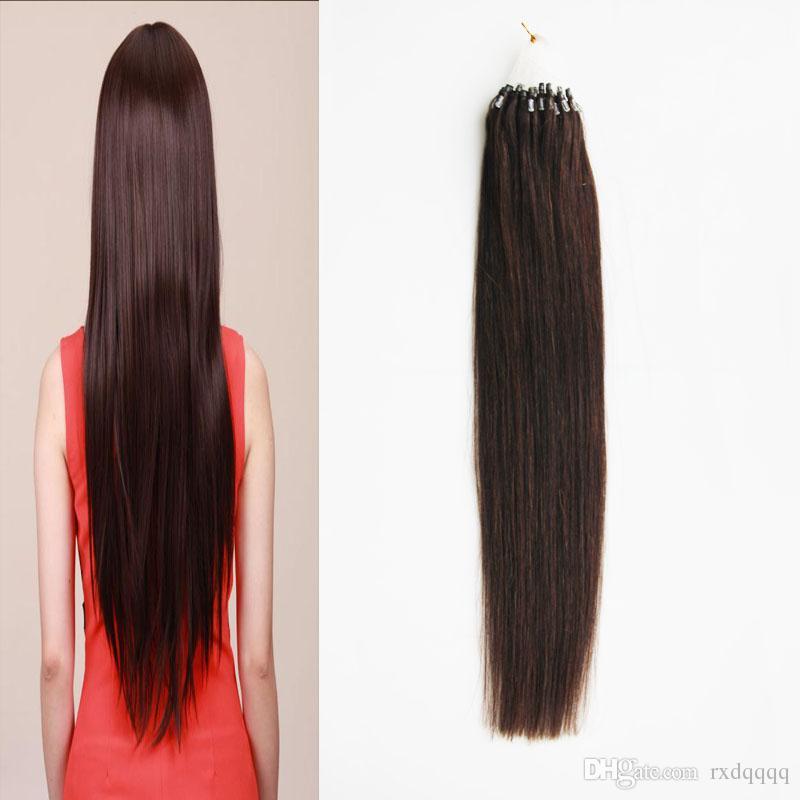 # 2 Koyu Kahverengi Mikro Döngü İnsan Saç Uzantıları 50g Döngü Yüzük Linkler Remy Düz% 100% Gerçek Saç 50 ipliklerini