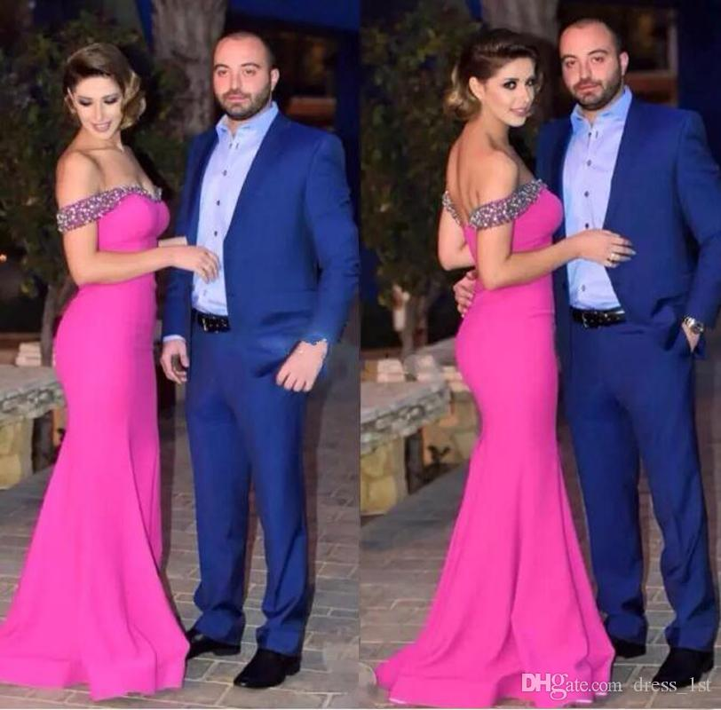 Modest 2018 Hot Pink Mermaid Long Evening Dresses Elegant Beads Crystals Off The Shoulder Formal Prom Gowns Free Shipping EN6292
