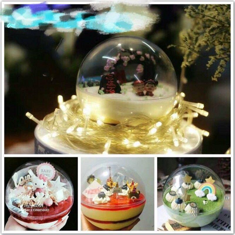 5cm 6cm 7cm 8cm 10cm Clear Plastic Ball food grade Candy Box Christmas Ornament Decoration Ball Xmas tree Baby Shower Wedding Supplies