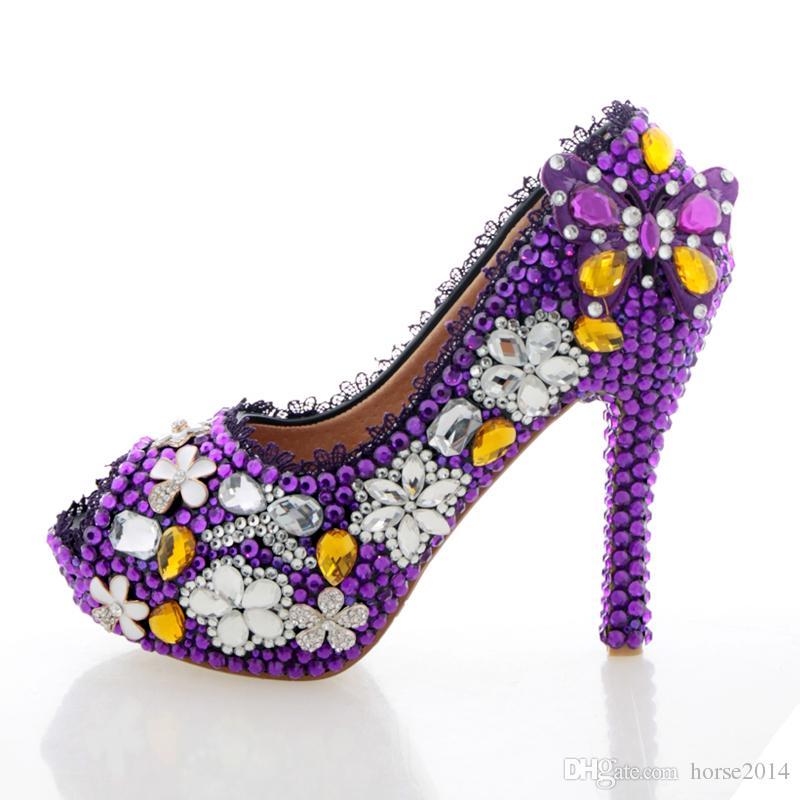 Purple Wedding Shoes Crystal High Heel Bridal Shoes Handmade Nightclub Rhinestone Bride Shoes Peep Toe Spring Women Prom Pumps From Horse2014 69 32 Dhgate Com