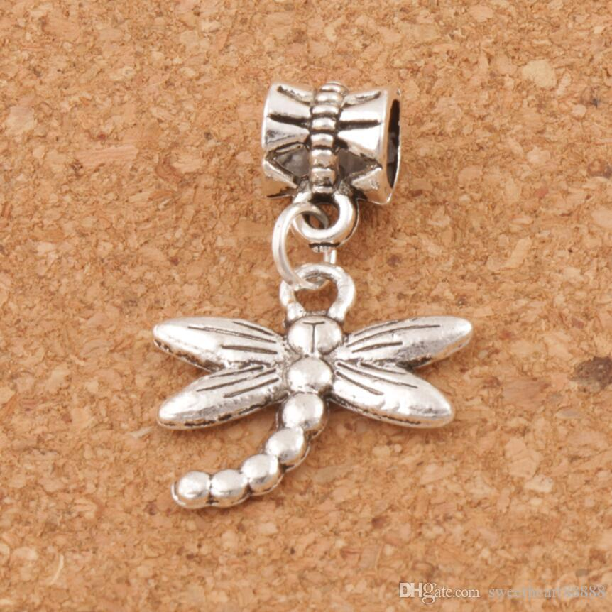 Dragonfly Insect Big Hole Pärlor 100st / Lot Tibetansk Silver Dangle Passform Europeiska Charm Armband Smycken DIY B176 18.1X27mm