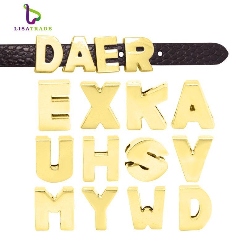 Wholesale- 130PCS! 8MM Gold Plain Slide Letter charms (A-Z each letter 5pcs) Fit DIY Wristband & Bracelet LSSL37*130
