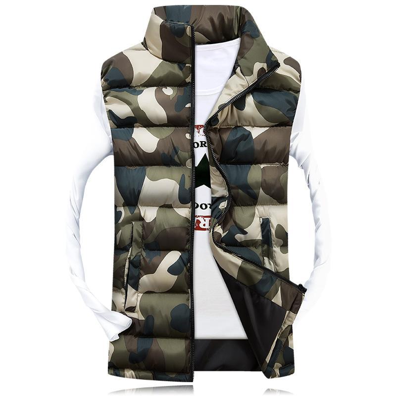 Commercio all'ingrosso- 2016 uomini del cammuffamento del colletto del cammuffamento dei camouflage uomini inverno senza maniche casuali giacche maschile femmina slim camo gilet di marca abbigliamento, sa031