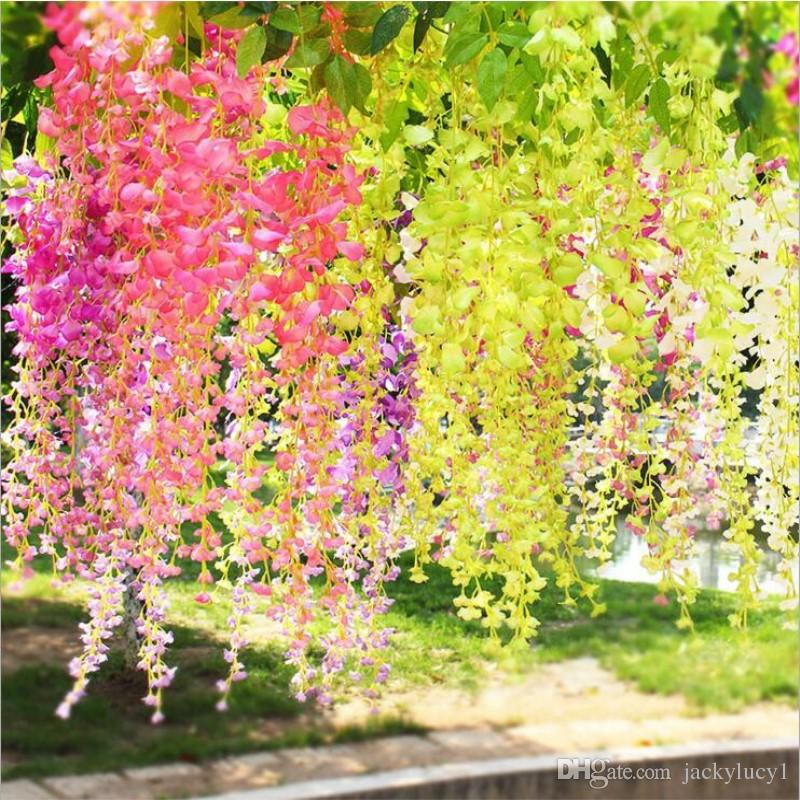 Künstliche Ivy Wisteria Seidenblume Vine Garland für Hochzeit Mittelstücke Dekorationen Bouquet Home Decor Günstige Großhandel
