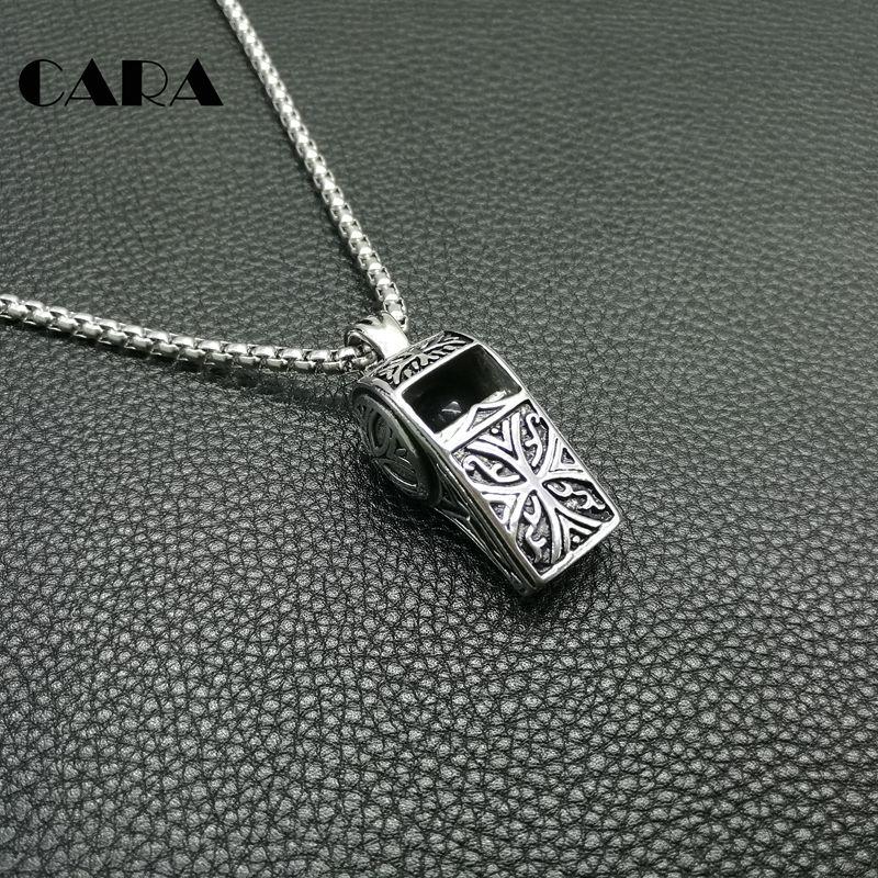 Fashion boys necklace 27'' Chain Vintage 316L Stainless Steel Whistle Pendants Necklaces For Men jewelry Necklaces hip hop necklac
