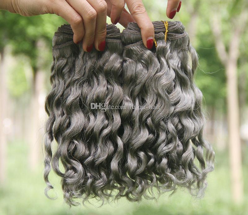 Heißer Verkaufs-silbernes Grau-Menschenhaar-Erweiterungen 3Pcs Lot-reine Farbe #Gray tiefe lockige peruanische Haar-Einschlagfäden brasilianische graue lockige Haar-Webart 8A