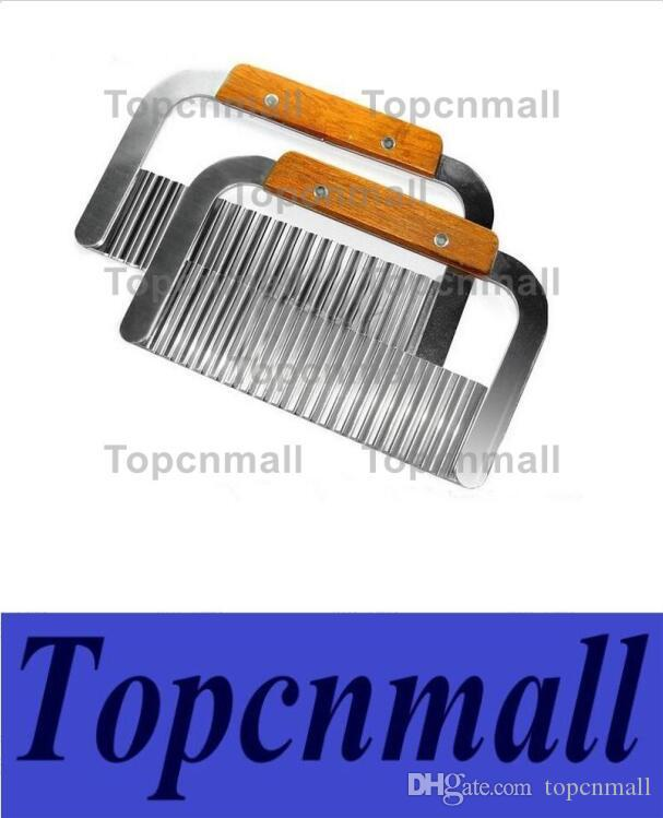 Hardwood Handle Stainless Steel Crinkle Wax Vegetable Potato Soap Cutter Wavy Slicer Chopper Free Shipping TPML-5469
