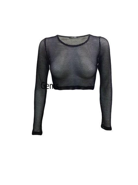 Wholesale- Black Fishnet Shirt Women Long Sleeve Fishnet Top