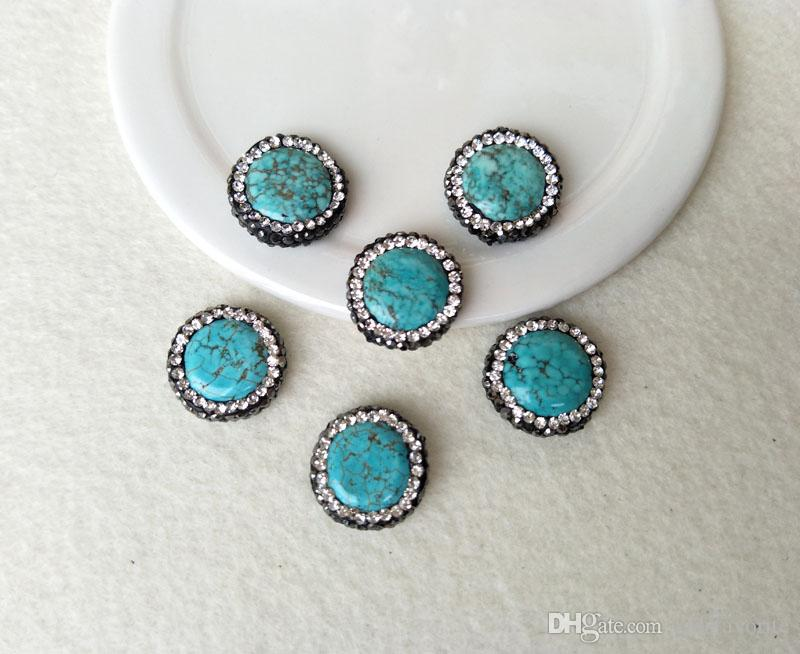 10Pcs Natural Turquoise Stone Bead Pave Rhinestone Connector Spacer Bead For DIY Making Bracelet necklace Jewelry BD117