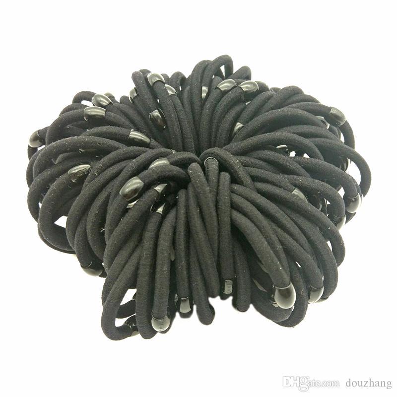 Lot 100 Pcs Taille 5 cm Perle Noir Filles Femmes Élastique Cheveux Bandes Titulaire Cheveux Cravate Anneau Hairband Élastique Cheveux Fouillant