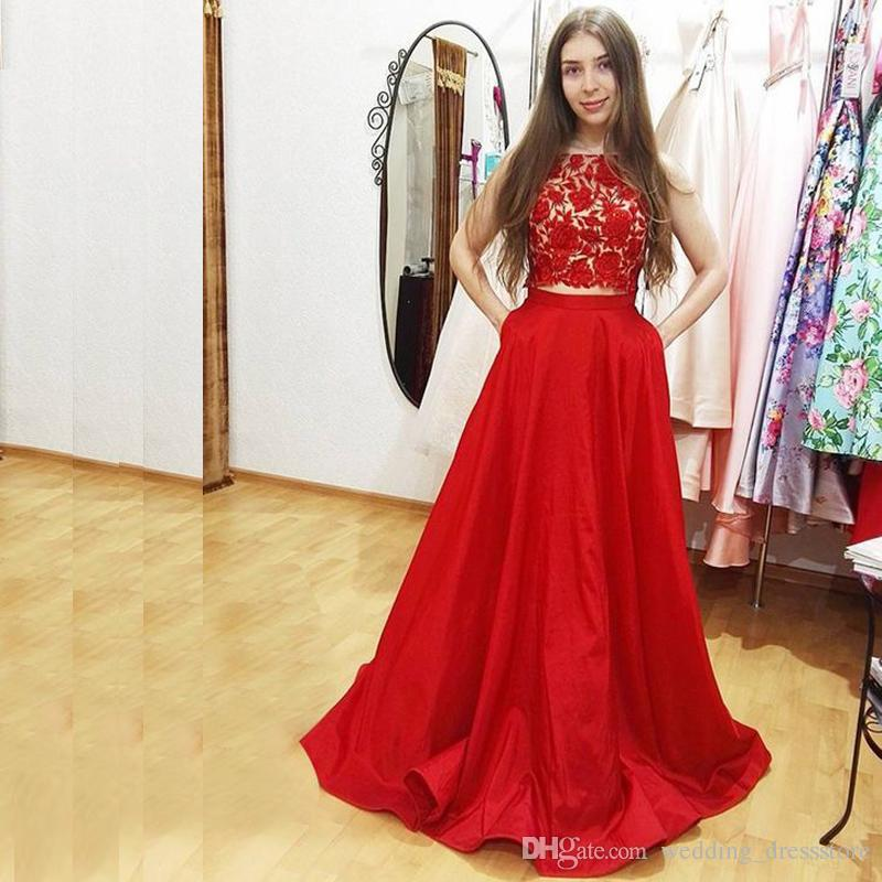 Lovely Red 2 Pieces A Line Evening Dresses O Neck Tank Lace And Satin Graduation Dress 2017 With Pockets Prom Gowns