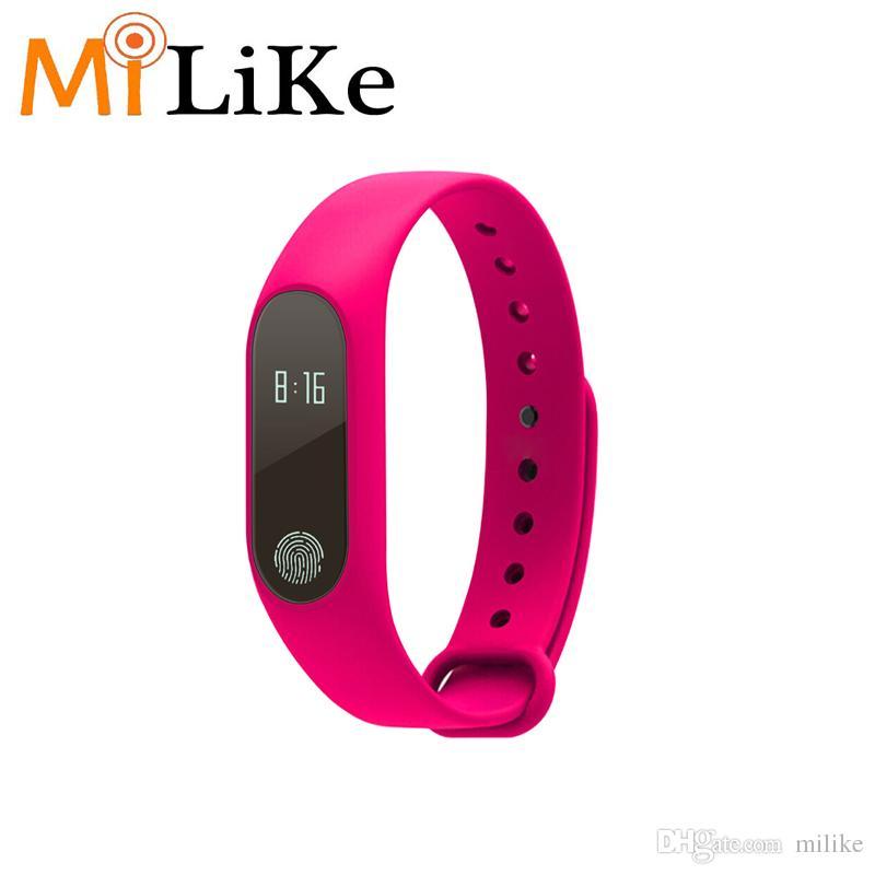 Smart Band Wristband M2 Bracelet de fréquence cardiaque étanche Smartband Bluetooth Fitness Tracker Pavé tactile Oled pour téléphone MI android IOS