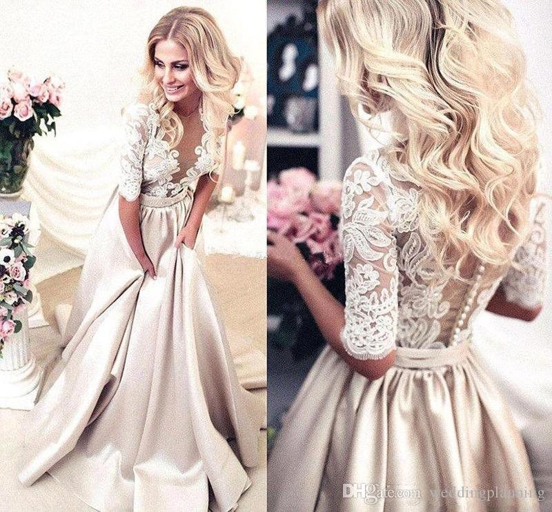 2019 Handmade Half Sleeves Prom Dresses Applique Covered Button Back Lace Evening Long Dresses Junior Skinny Girl Party Gowns Bridal Gowns