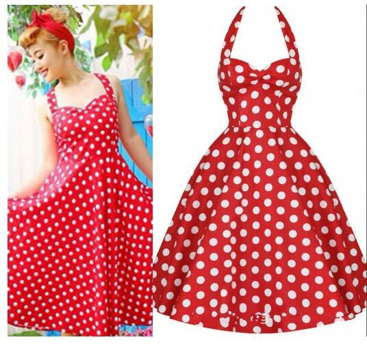2017 Summer Plus Size Retro 50s Swing Pin Up Dress Polka Dots ...