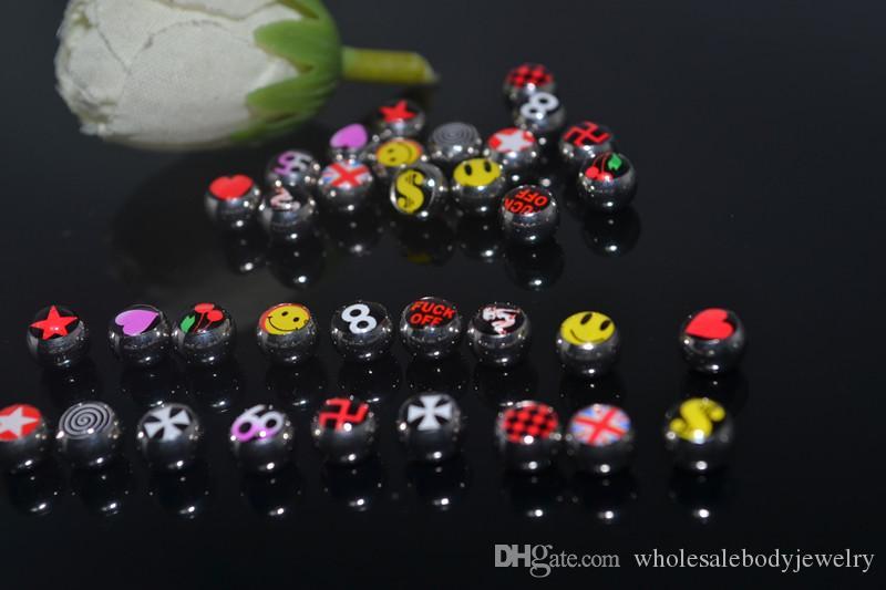 Livraison gratuite 100pcs / lot Body piercing bijoux Accessoire Balles en acier inoxydable pour langue / mamelon / Navel 14G Body Piercing Replacement