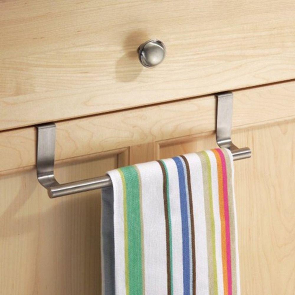 Wholesale- House Stainless Steel Cabinet Hanger Over Door Kitchen Hook Towel Rail Hanger Bar Holder Drawer Storage Bathroom Tools