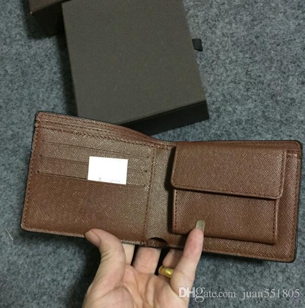 Esportare nuovo stile mens di marca in pelle borsa di cuoio portafoglio corto croce alta qualità portafogli per uomini scatola