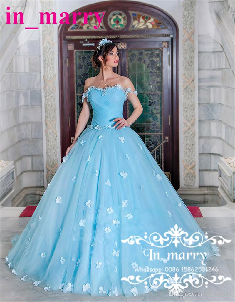 Light Blue Ball Gown Sweet 16 Quinceanera Dresses 2018 Off Shoulder ...
