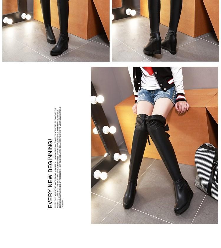 winter pu women's boots plus size 40 41 42 43 high-leg knee-length