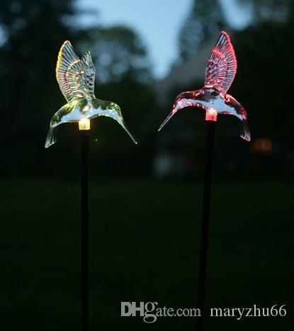 Lenfon Solar garden stake 7 Color Changing Stake Lights Set of 2 acrylic hummingbird Weatherproof Design Decorative Landscape Lamps