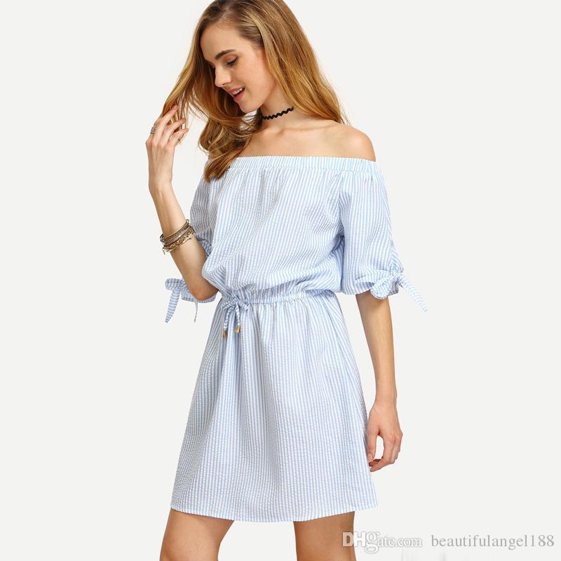 3425b35c96329 Women Blue Bardot Dress Striped Bow Tie Casual Shift Dresses Slash Neck  Short Sleeve Beach Dress Designer Summer Dresses Womens Long Black Dresses  ...