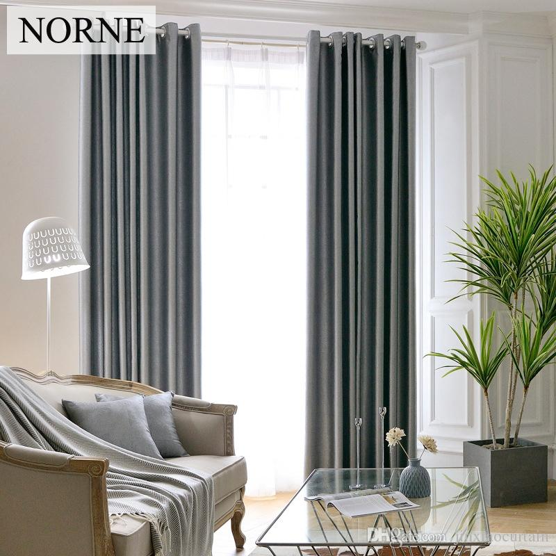 Norne Heavy Embossed Curtains curtain For living Room 90% Shading Rate/ Bedroom Blackout Curtains Window Drapery Grey Brown Solid,Voile