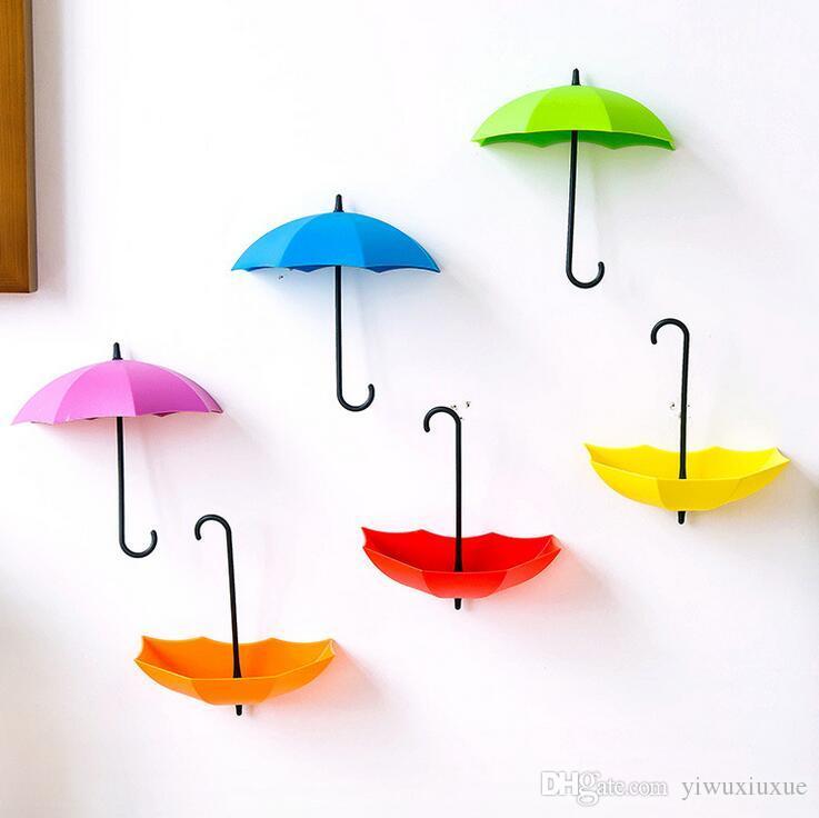 3 adet / takım yeni ev banyo mutfak depolama tutucu sevimli renkli şemsiye şekilli kendinden yapışkanlı tutucu askıları kapı duv ...