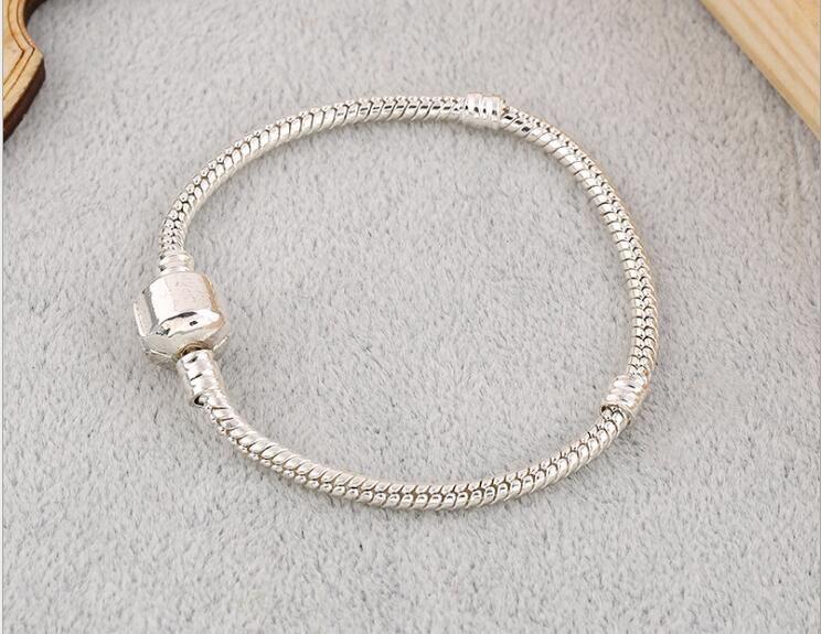Hot 17-22cm 925 Bracelet en argent pour les femmes adapter Pandor chaîne Serpent de base Bracelets Bangles Charm Perle Bricolage Bijoux Livraison gratuite