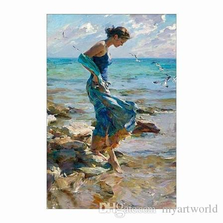 durch die Strandfrau im blauen Kleid, reines handgemaltes Impressionismus-Porträt-Kunst-Ölgemälde auf Canvas.customized Größe nahm welcome8 an