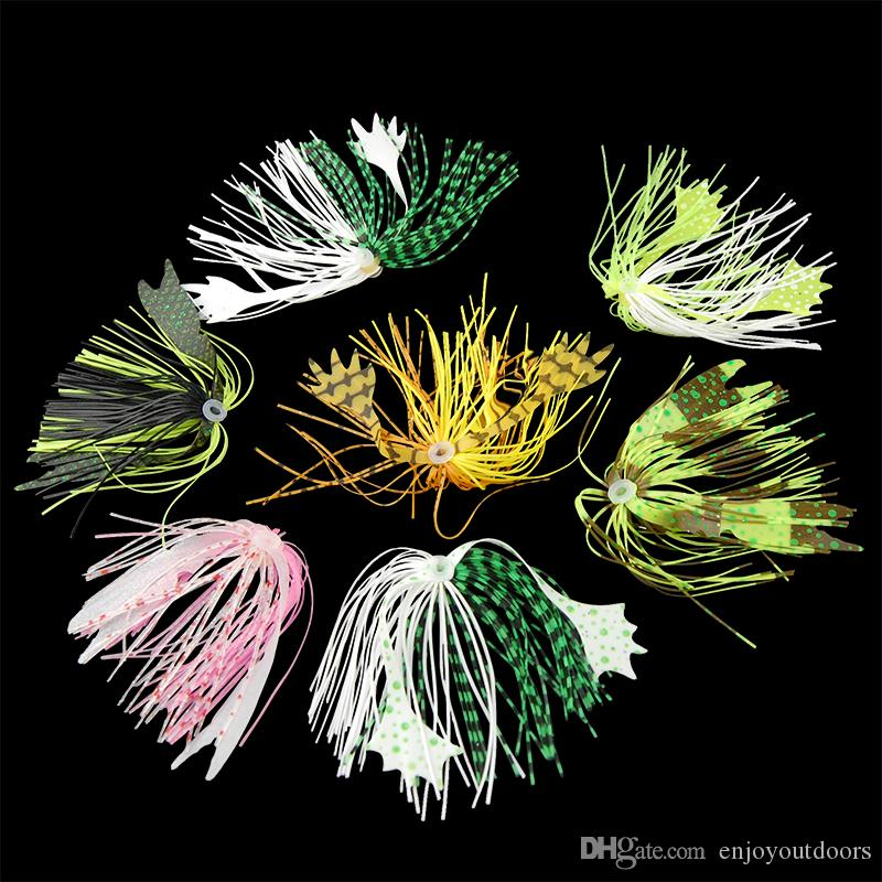 10pcs Mixed Color Fishing Rubber Jig Skirts 40 Strands Silicone Skirts Wire With Rubber Ring Fly Tying Rubber Material