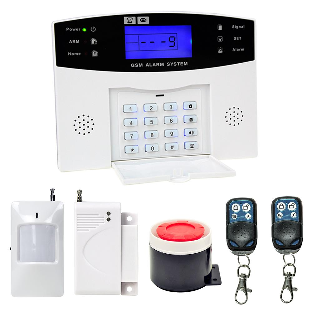 LCD Keyboard RU/SP/EG/FR/IT Voice Wireless SMS Home GSM Alarm system House intelligent auto Burglar Door Security Alarm Systems