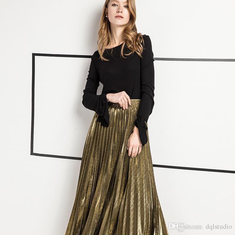 Frete Grátis Moda Saias De Ouro Cintura Elástica de Prata Longo Outono Vestidos Saias Plissadas de Cintura Alta Mulheres Vestidos de Roupas s