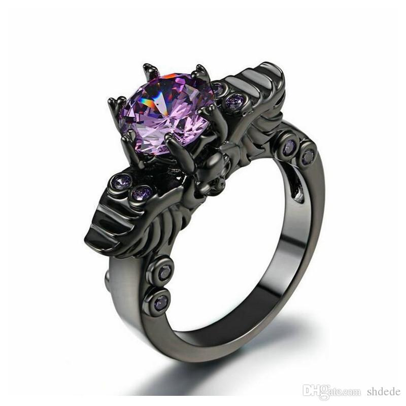 Punk style skull ring black and white gold plated wave Amethyst CZ diamond explosion jewelry wholesale