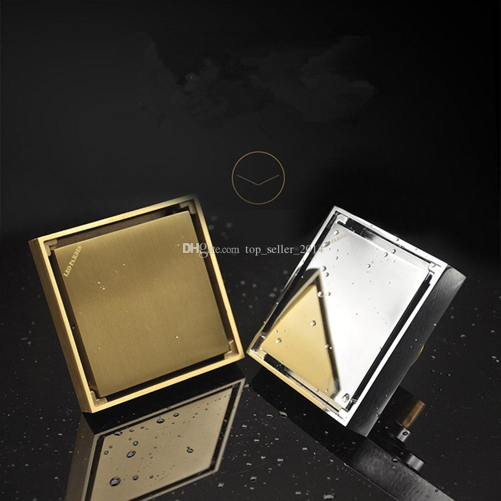 2019 Square Tile In Floor Drain 4 Inch Brass Rustproof With With Removable  Waste Strainer Invisible Look Flat Cover For Shower Bathroom Kitchen From