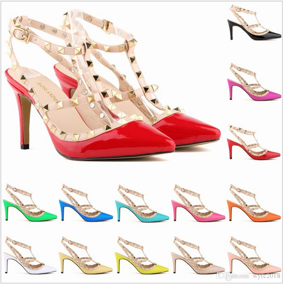 Sexy Pointed Toe Med High Heels Summer Womens Wedding Fashion Buckle Studded Stiletto High Heel Sandals Shoes